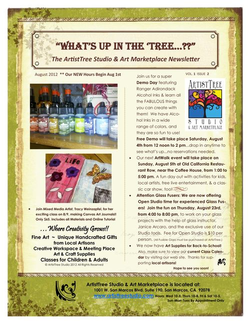 ArtistTree Newsletter Aug2012